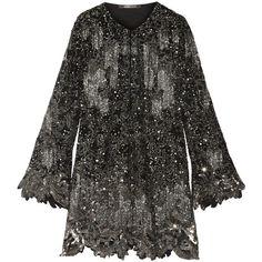 Roberto CavalliEmbellished Silk-georgette Mini Dress (€12.330) ❤ liked on Polyvore featuring dresses, black, loose dresses, sequin dresses, sequin mini dress, embellished cocktail dress and short sequin dress
