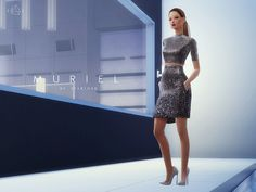 The Sims Resource: Metallic Silk Dress MURIEL by Starlord • Sims 4 Downloads