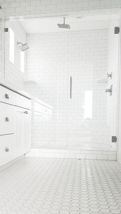#whitelanedecor @whitelanedecor Master bathroom ideas, white octagon and dot tile, subway tile shower, rain head shower, Spa shower