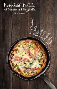 Rezept-Vorschlag: Rosenkohl-Frittata mit Schinken und Mozzarella. Zutaten für 4 Portionen: 500 g Rosenkohl, 2 EL Butter, 8 Eier, 50 ml Sahne, Salz und Pfeffer, 1 Mozzarella, 4 Scheiben Schinken. Das Rezept gibt's in unserem Magazin auf Seite 65. Guten Hunger!