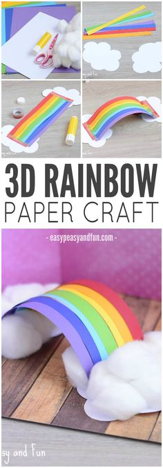 Rainbow Paper Craft Love bringing a new spin on classic crafts! This Rainbow is a fun craft for springtime or St.Love bringing a new spin on classic crafts! This Rainbow is a fun craft for springtime or St. Daycare Crafts, Sunday School Crafts, Toddler Crafts, Preschool Crafts, Crafts With Toddlers, March Crafts, Spring Crafts, Diy Pour Enfants, Construction Paper Crafts