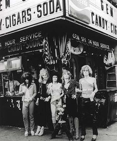 New York Dolls. L.A. One of THE most decadent and outrageous bands ever! LOVED THEM! Saw them at the Hollywood Trash Dance at the Hollywood Palladium. It was supposed to signal the end of glitter rock. I was among the dozens of glitter rock girls lounging on the sweeping staircases of the Palladium lobby rubbing my aching feet thanks to my sky-high platform shoes.