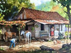 Art Village, House Landscape, Landscape Art, Beautiful Paintings, Beautiful Landscapes, Case Creole, Puerto Rico Pictures, Puerto Rico History, Caribbean Art
