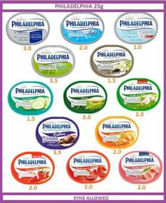 Philadelphia cream cheese slimming world syn values More astuce recette minceur girl world world recipes world snacks Slimming World Shopping List, Slimming World Syns List, Slimming World Syn Values, Slimming World Treats, Slimming World Dinners, Slimming World Recipes Syn Free, Slimming World Plan, Slimming World Lunch Ideas, Shopping Lists