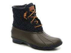Women's Women Saltwater Quilted Duck Boot -Navy/Olive - Navy/Olive