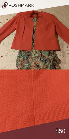 JONES NEW YORK Coral blazer Dress sold separately. Bright coral color, slight-tone on-tone stripe. Needs to be dry cleaned/ironed. Wrinkly because I had it shipped from my family in Texas. Worn twice. Like new. 80% cotton. Make me an offer :) Jones New York Jackets & Coats Blazers