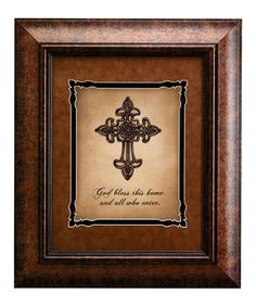 Another great find on #zulily! 'God Bless This House' Cross Framed Print…