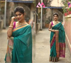 This saree is the perfect choice for when you want to stand out and showcase India's tradition at any special occasion. This can also be the perfect wedding gift for a loved one as well! Gift Packing Also available... Green Saree, Pink Saree, Bright Purple, Pink And Green, Hot Couples, Cotton Silk, Perfect Wedding, Wedding Gifts, Special Occasion