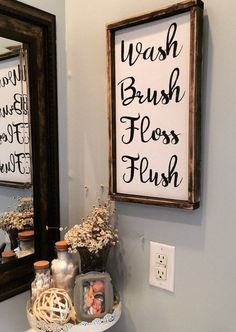 Bathroom SIgn / Wash Brush Floss Flush Sign / Bathroom Wall Decor / Bathroom Wall Art / Wood Sign / Framed Wood Sign / Wash Measurements are approx. framed 11 x 25 and un-framed 10 x All of Bathroom Wall Decor, Bathroom Signs, Bathroom Layout, Bathroom Storage, Small Bathroom, Bathroom Inspo, Design Bathroom, Bathroom Curtains, Bathroom Towels