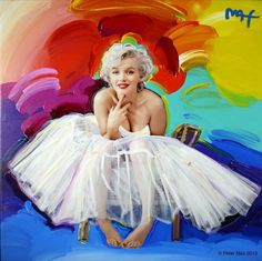 Marilyn Monroe by Peter Max. Art using a photo by Milton Greene. I like it even though the artist did a lousy job of silhouetting the photo of Marilyn. sigh…