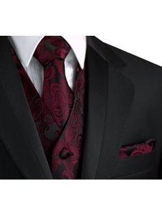 Italian Design, Men's Tuxedo Vest, Tie & Hankie Set in Berry Paisley Black And Red Suit, Black Tuxedo, Tuxedo For Men, Tuxedo Wedding, Wedding Suits, Maroon Wedding, Wedding Attire, Cool Tuxedos, Maroon Suit