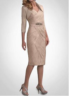 For Champaign/ Ivory wedding  Fabulous Chiffon Sheath V- Neckline Mother of the Bride Dress With Jacket
