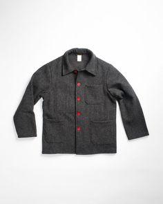 da03ef56 Le Laboureur Wool Work Jacket Grey   Vêtement homme Mens Wool Coats, Wool  Vest,