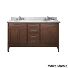 Avanity Madison 60 Inch Double Vanity In Tobacco Finish With Dual Sinks And  Top (