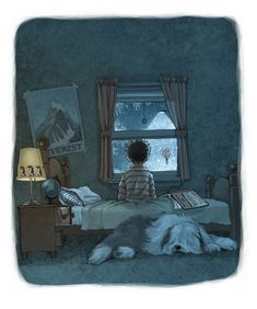 """""""The snow continued to fall through the night …"""" illustration from Blizzard by John Rocco"""