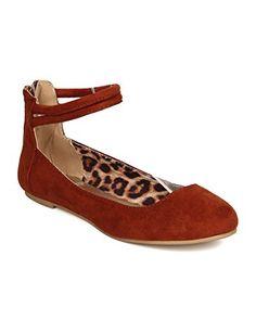 6d25f0638e31 Flats Zip Qupid FE62 Women Faux Suede Ankle Strap Tasseled Ballet Flat  whiskey Size 10
