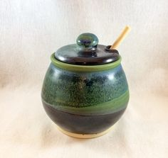 Stoneware pottery honey pot/ sugar bowl, black, green, and blue glaze (holds 16 oz)- includes honey dipper, ceramic honey pot with dipper by CenteredVessel on Etsy