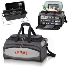 Picnic Time 750-00-175-312-0 Buccaneer University of Maryland Terrapins/Terps Embroidered Cooler and Barbecue Set in Black