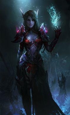 Blood Elf by theDURRRRIAN female dark elf drow necromancer wizard warlock…