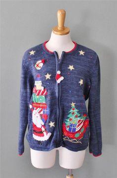 Ugly Christmas Sweater Jumper Women L Men M BUSY cardigan 2 sides Tiara CS24 #Tiara #Cardigan