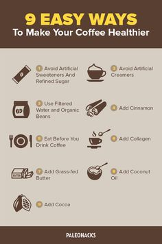 9 Easy Ways To Make Your Coffee Healthier! Healthy coffee for paleo method eaters. Detox Drinks, Healthy Drinks, Eating Healthy, Healthy Foods, Clean Eating, American Drinks, Ways To Make Coffee, Collagen Drink, Coffee World