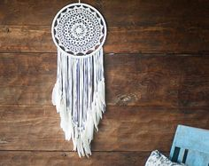 Large White Crochet Dream Catcher - Crochet Mandala - Nursery Dreamcatcher - Boho White Wedding Decor Bohemian Mobile - US Express Shipping