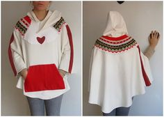 Ivory hooded poncho cape in Red Vintage Knit por angelofanatolia