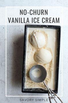 Add vanilla cake into mix! Homemade vanilla ice cream is the ultimate treat! You don't need an ice cream machine to prepare this decadent, creamy no-churn vanilla ice cream recipe. It's incredibly easy! Ice Cream Desserts, Frozen Desserts, Fun Desserts, Frozen Treats, Dessert Ideas, No Churn Ice Cream, Ice Cream Maker, No Machine Ice Cream Recipes, Homemade Vanilla