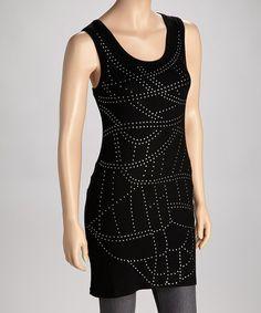 Look what I found on #zulily! Black Studded Tunic - Women by Trisha Tyler #zulilyfinds