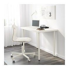 IKEA - LINNMON / ADILS, Table, white, , Pre-drilled leg holes for easy assembly.Adjustable feet allow you to level the table on uneven floors.