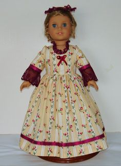 Burgundy Colonial dress fits American Girl by MargaretteDesigns4AG
