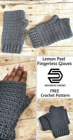 Free Crochet Pattern: Lemon Peel Fingerless Gloves by Creations By Courtney