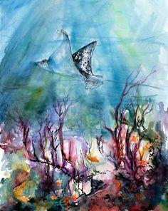 Ocean Life Stingray Original watercolor and Ink