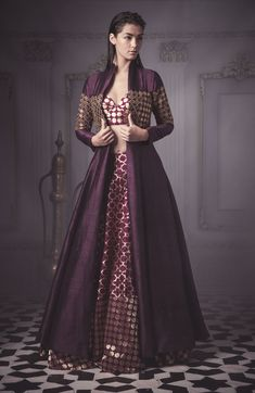 Looking for aubergine jacket lehenga? Browse of latest bridal photos, lehenga & jewelry designs, decor ideas, etc. Indian Gowns, Indian Attire, Indian Ethnic Wear, Lehenga Designs, Indian Wedding Outfits, Bridal Outfits, Dresses To Wear To A Wedding, Dress Wedding, Indian Designer Outfits