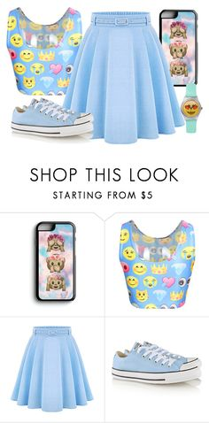 """""""Baby Blue Emoji Outfit"""" by alove1812 ❤ liked on Polyvore featuring Samsung, Converse and AubreysCuteSets"""