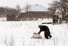 A Belarussian villager pushes a trolley in the village of Tulgovichi, near the 19-mile exclusion zone around the Chernobyl nuclear reactor on February 22. Today, the Belarus border region from which the locals were evacuated in 1986 is a weird, overgrown wilderness - teeming with wildlife but virtually devoid of people, its shops and homes fast disappearing under a tangle of foliage. Tulgovichi, which once had about 1,000 inhabitants, is still home to a handful of pensioners who refuse to…