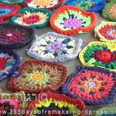 Patrón Cómo hacer cuadrados de crochet con trapillo