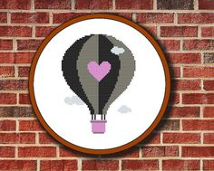 Hot Air Balloon Valentine Cross Stitch Pattern от Pattaporn, $2.09