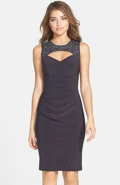 Xscape Embellished Lace & Jersey Cutout Sheath Dress available at #Nordstrom
