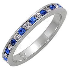 Sterling Silver Stackable Eternity Band Ring 0.96ct Sapphire & Russian Ice CZ Yalena (sizes 4 to 12) 1000 Jewels. $24.00