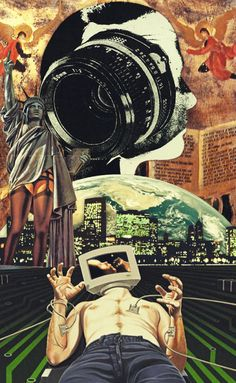 Genesis 1:27 - God Created Mankind In His Own Image-6. Surreal Mixed Media Collage Art By Ayham Jabr.