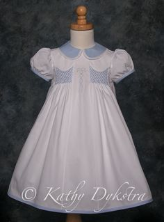 Ella's Easter Dress - shadow work embroidery, shaped yoke application, perfect peter pan collar, bias trim that is machine stitched down - all of these techniques are featured in this 12 hour class.