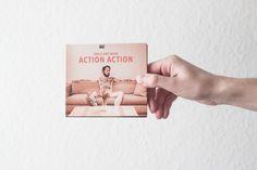 """Völlig unverklausuliert, laut, modern, popig, selbstbewusst, direkt, untheoretisch und ehrlich. Das ist das Album """"Action Action"""" der Berliner (Punk)Rock-Kapelle Smile and Burn. Design Timo Kahl Fotografie Max Threlfall"""