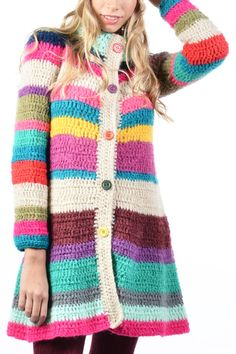 Risultati immagini per gaban tejido Crochet Coat, Crochet Jacket, Crochet Cardigan, Crochet Clothes, Moda Crochet, Cute Crochet, Crochet Designs, Crochet Patterns, Hippie Crochet