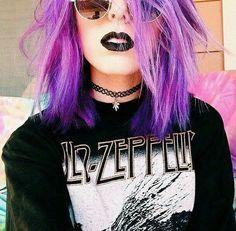 Beautiful colour hair black lips LED Zeppelin