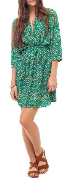Jade Leopard Kimono Dress