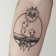 Forarm Tattoos, Time Tattoos, New Tattoos, Tattoos For Guys, Cool Tattoos, Tattos, Princess Mononoke Tattoo, Princess Tattoo, Miyazaki Tattoo