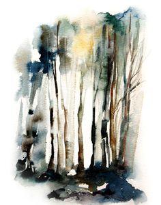 Imprimir Resumen bosque Art Print acuarela pintura