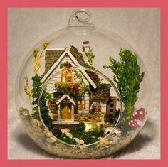 G015 DIY doll house miniatura mini glass ball model building Kits wooden Miniature Dollhouse Toy Gift Forest Villa free shipping