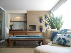 Gourmet Decorada - Casa e Apartamento Decor, Furniture, Blue Decor, Balcony Decor, Modern Patio Furniture, Home Decor, Home Deco, Interior Design Living Room, Interior Design